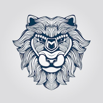 ライオンの顔のラインアート