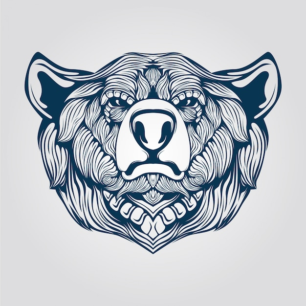 クマの頭のラインアート