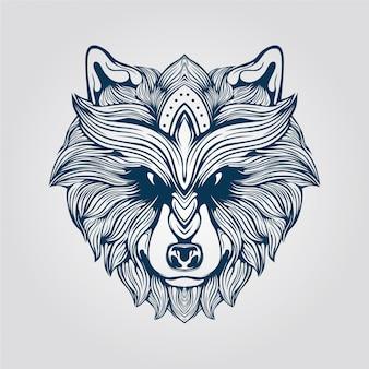 毛深いオオカミラインアート