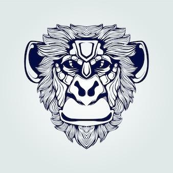 濃い青の猿顔ラインアート