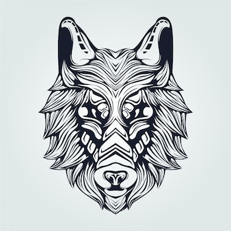 濃い青のオオカミラインアート