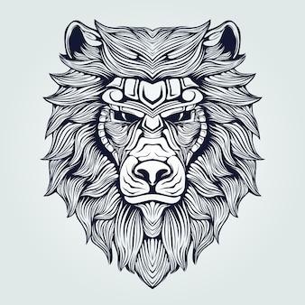 ライオンヘッドラインアート装飾的な顔タトゥー