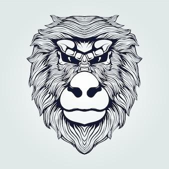 猿の頭のタトゥーラインアート