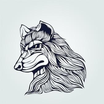 側からのオオカミのラインアート