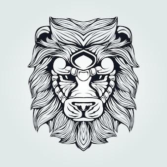装飾的な顔を持つライオンヘッドのラインアート