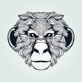 毛深い猿の顔ラインアート