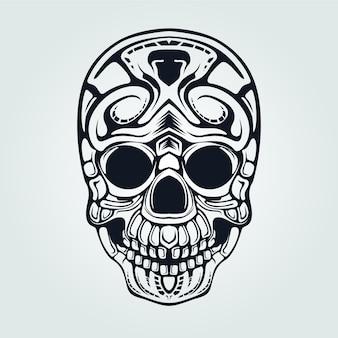 Череп декоративная линия искусства для татуировки