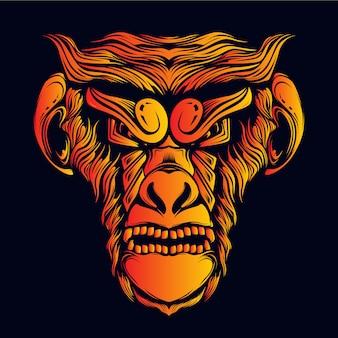装飾的な顔を持つ怒っている猿の頭をグローします。