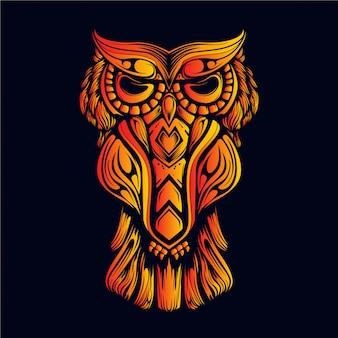暗闇の中で装飾的なフクロウの輝き