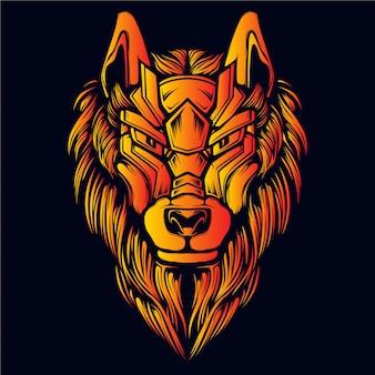 オオカミの頭部の輝き火色の装飾的な顔
