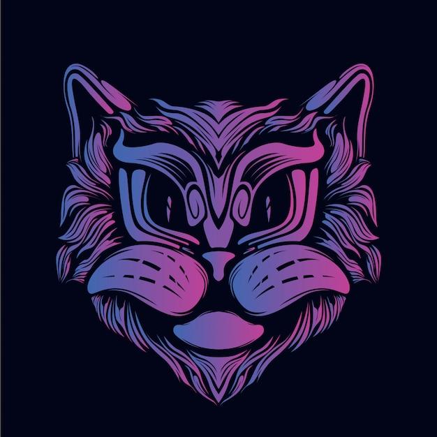 猫の顔のアートワークの装飾的な目