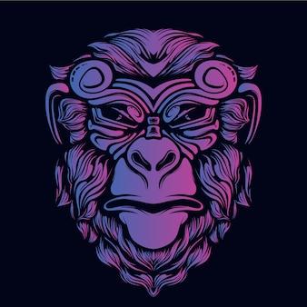 猿の頭のアートワークの装飾的な顔の輝きの色