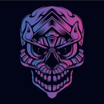暗い装飾的な顔の頭蓋骨の輝き