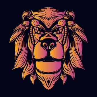 ライオンヘッドの装飾的な顔のレトロなアートワークイラストを笑顔