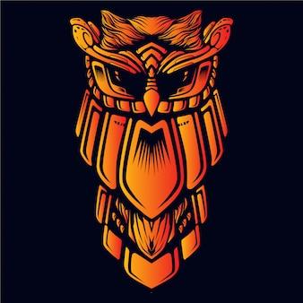 鎧のアートワークの図とフクロウ