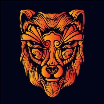 オオカミの頭のアートワークの図