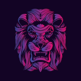 ライオンヘッド装飾顔アートワークイラスト