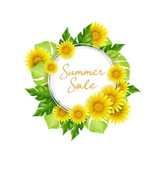 熱帯の花と夏のセールの背景