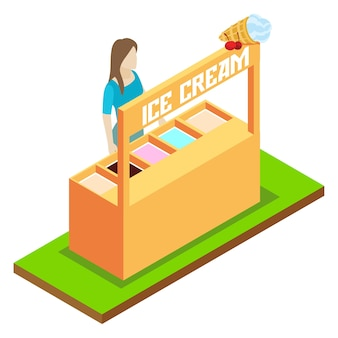 アイスクリームを売るベクトルアイソメトリックコンセプト