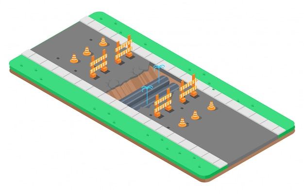 Изометрическая иллюстрация ремонта асфальтовой дороги