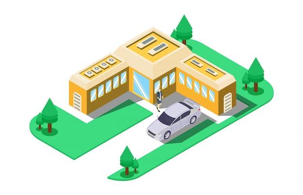 Изометрическая иллюстрация ремонта асфальтовой дороги с дорожно-строительными знаками