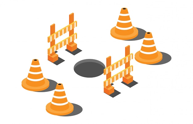 警告のサインと高速道路上の等尺性の穴
