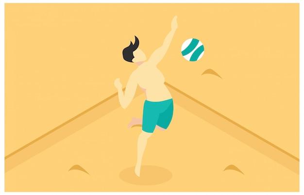 Изометрические иллюстрации, играть в пляжный волейбол