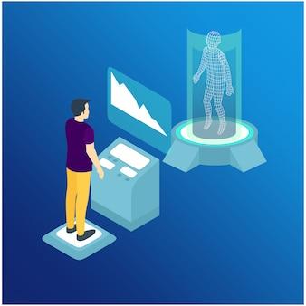 等尺性男は抽象的な未来的なスクリーンと通信します。