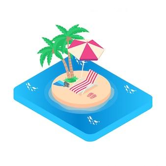 等角投影図休暇のアイコン。ターコイズブルーの海