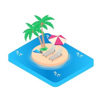 Изометрические иллюстрация отпуск значок. бирюзовое море