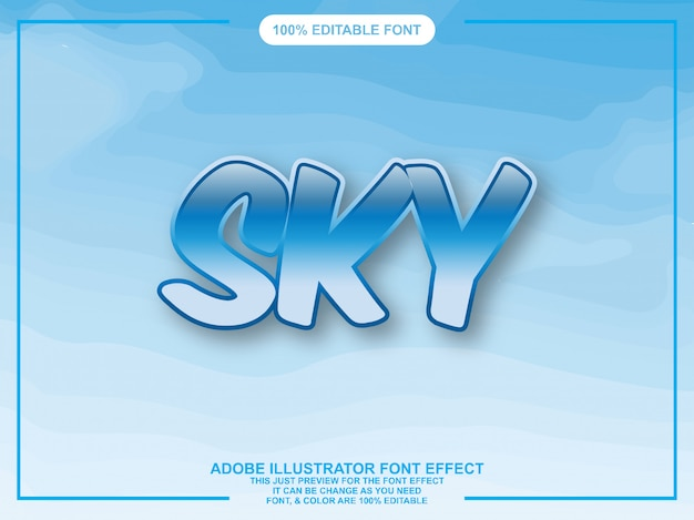 青い空グラフィックスタイルイラストレーター編集可能なタイポグラフィ