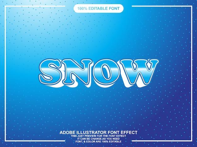 雪の大胆なグラフィックスタイルの編集可能なテキスト効果