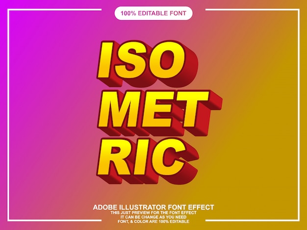 イラストレーターのためのモダンな等尺性の編集可能なテキスト効果