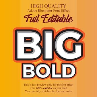 Современный большой жирный редактируемый типографский эффект шрифта