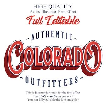 Классический плоский редактируемый типографский эффект шрифта