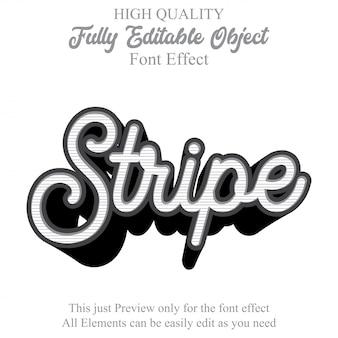 ストライプスクリプトテキストスタイルの編集可能なフォント効果