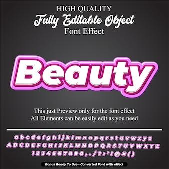 大胆なピンクの美しさのテキストスタイルの編集可能なフォント効果