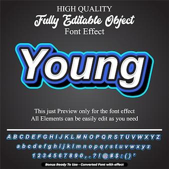 現代のシンプルな若いテキストスタイルの編集可能なフォント効果