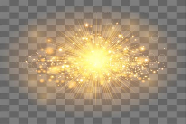 輝きや金粒子輝きの光と黄金の太陽の光線。抽象的な金の背景