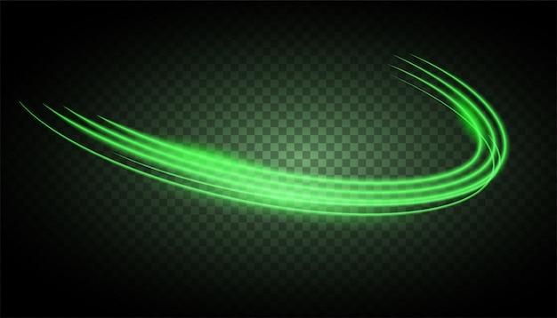 サークルグリーンの光沢のある光の効果