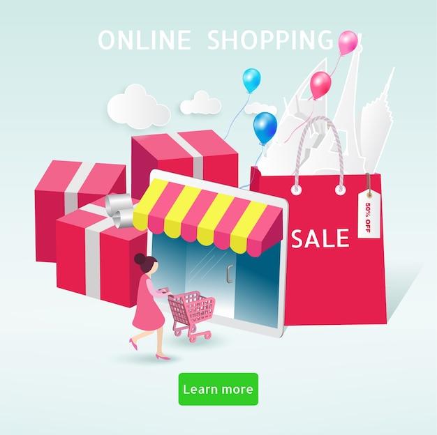 Концепция онлайн-покупок. счастливая женщина покупки на ее планшете