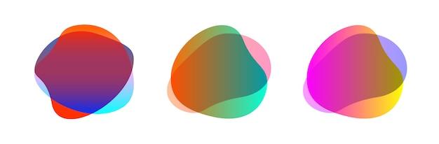 カラフルなブロブ形状の抽象的な形状セット