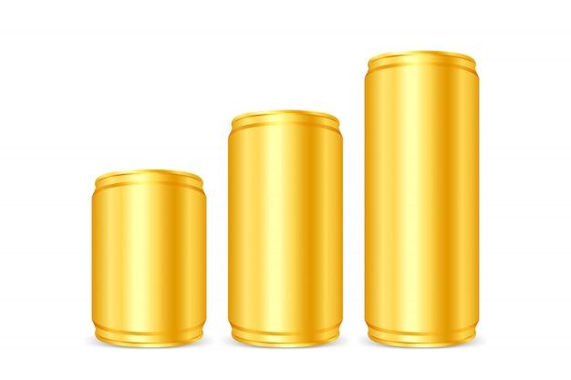 金の缶詰、黄金の鉄缶、分離された空白の金属金ビールまたはソーダ缶セット