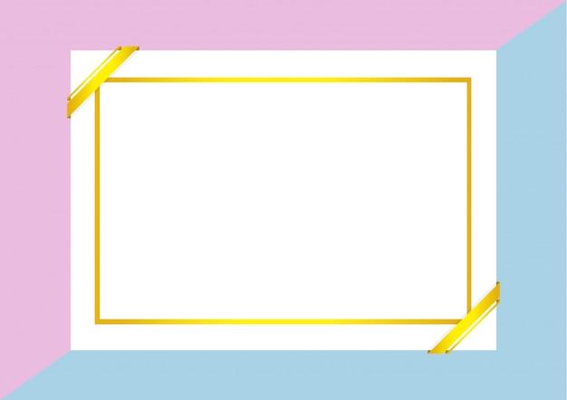 Шаблон сертификата с золотой рамкой на фиолетово-голубых пастельных тонах
