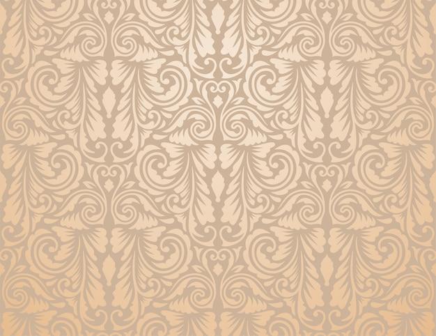 茶色のビンテージ花柄の壁紙
