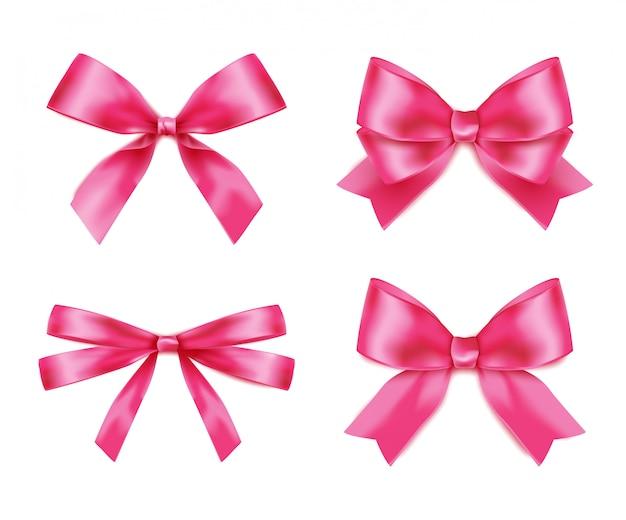 現実的なピンクの弓ベクトルのセット
