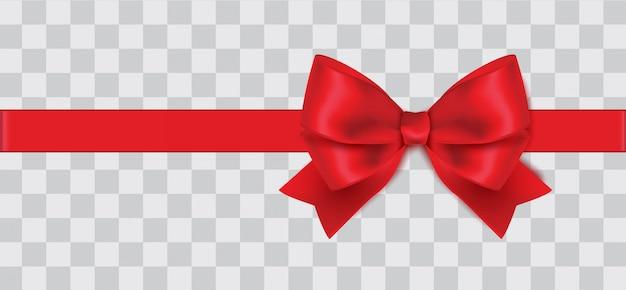 Горизонтальная реалистичная красная лента с бантом