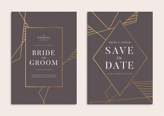 ダークゴールドの幾何学的な結婚式の招待状