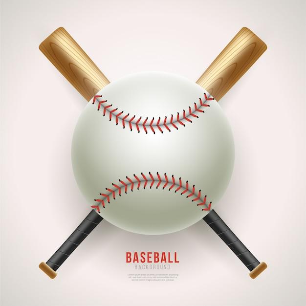 Реалистичный фон бейсбольный мяч и летучая мышь