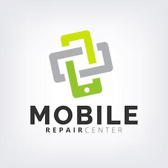 緑のインターロック携帯電話の修理&修復ロゴアイコンのテンプレート